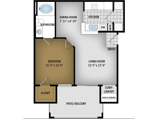 A Floorplan- 648 Sq. Ft.