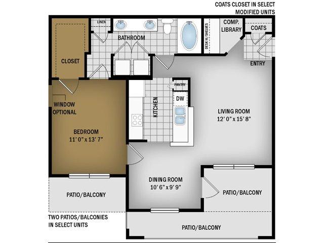 B Floorplan- 802 Sq. Ft