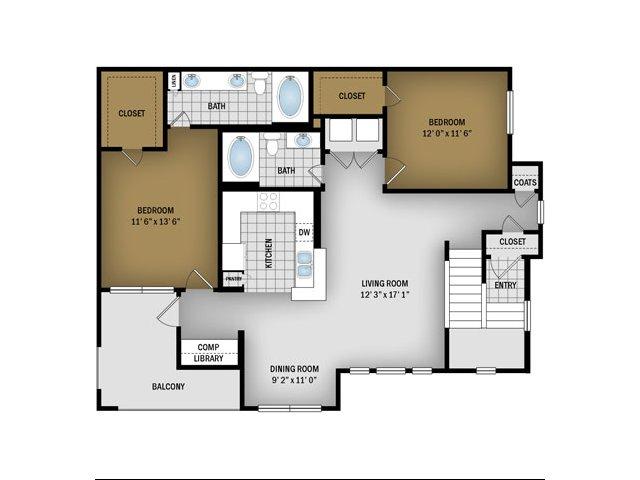 G Floorplan- 1244 Sq. Ft.