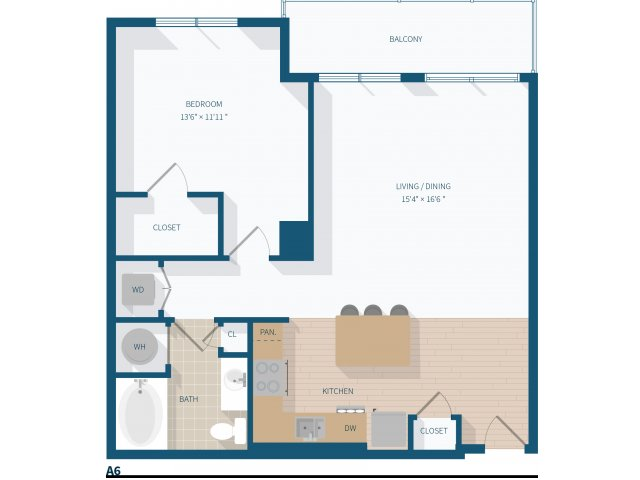 1 Bedroom - A6 - 884 Square Feet