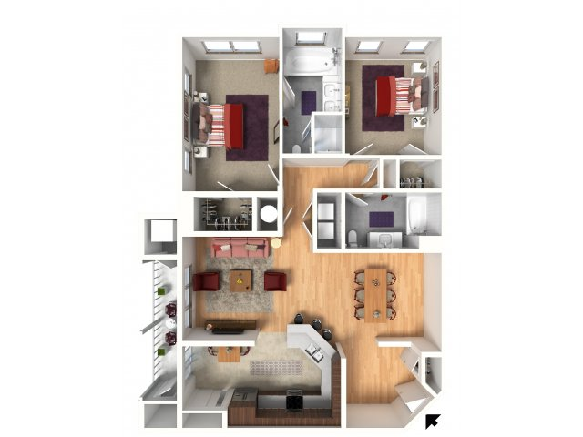 Two Bedroom Floorplan | Queens Gate 4