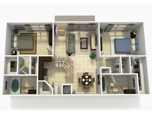 Espana Rehab two bedroom two bathroom 3D floor plan