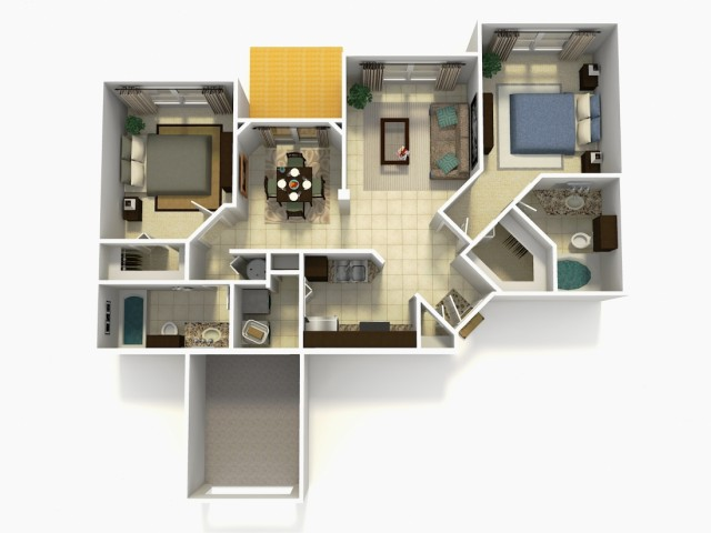 Tarragona Upgrade two bedroom two bathroom 3D floor plan
