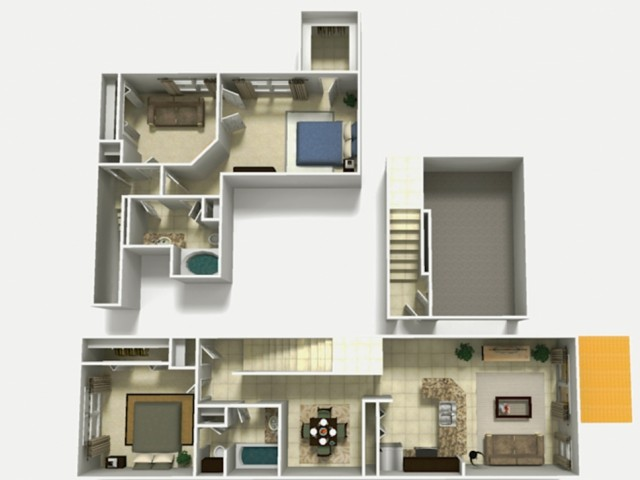 Mallorca Rehab two bedroom two bathroom with den and single car garage 3D floor plan