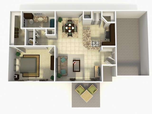 Madrid Upgrade one bedroom one bathroom with single car garage 3D floor plan