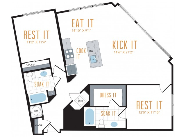 Two Bedroom Floorplans | Lincoln at Tinner Hill 6