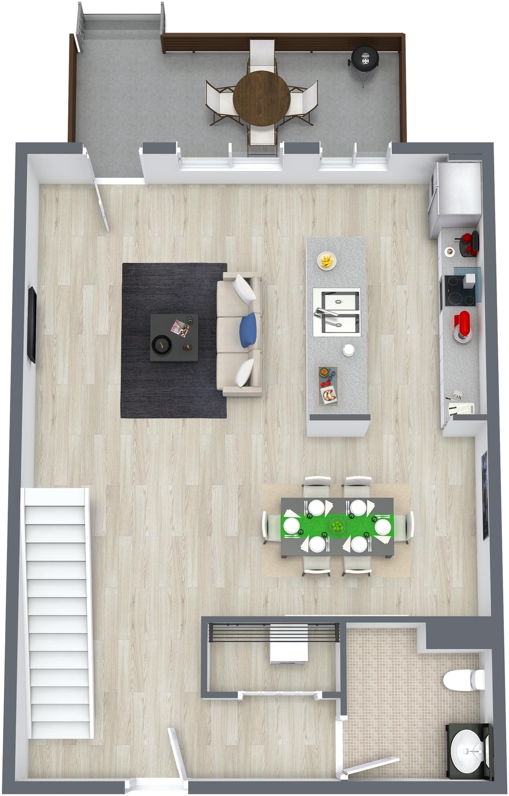 Two Level Loft plus 1.5 Bath