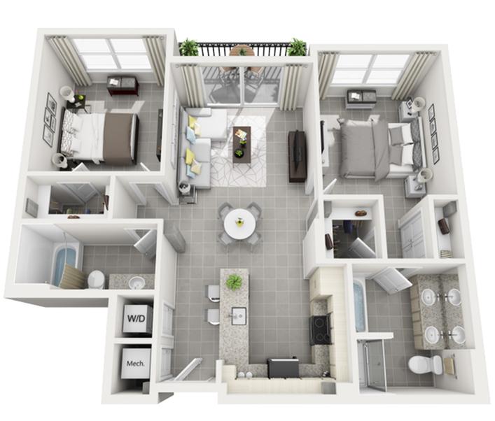 Montenegro two bedroom two bathroom 3D floor plan