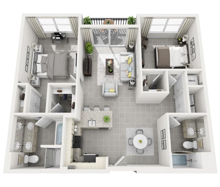 St. Vincent two bedroom two bathroom 3D floor plan