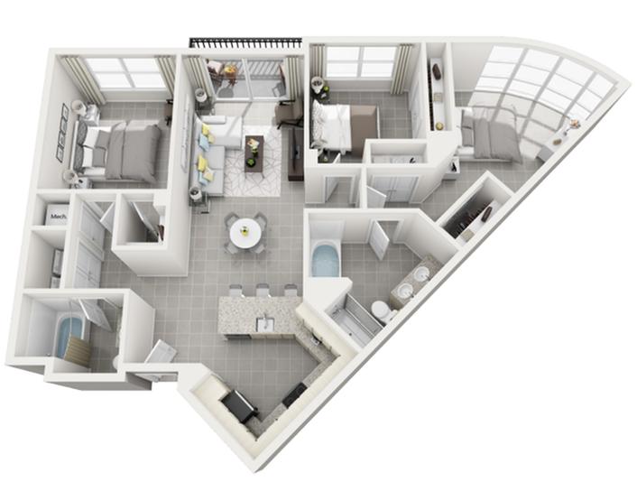 Isla del Sol three bedroom two bathroom 3D floor plan