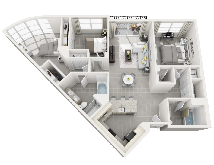 Isla Grande three bedroom two bathroom 3D floor plan