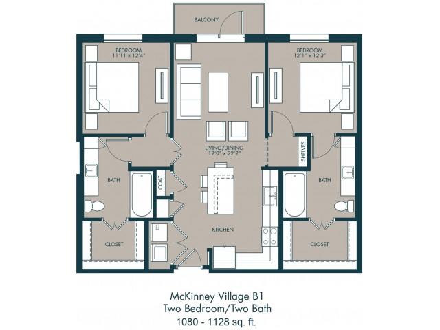 McKinney TX Apartments | Floor Plan 2
