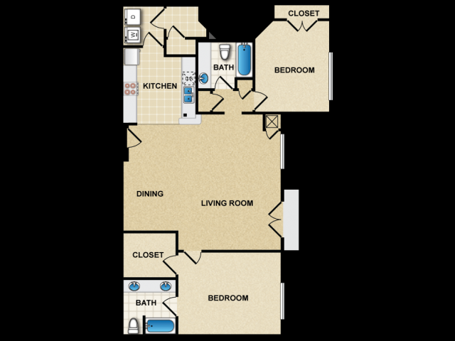 2 bedroom apartment in canton