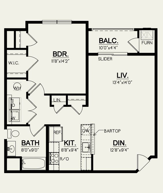 1B2- 1 Bedroom-1 Bath