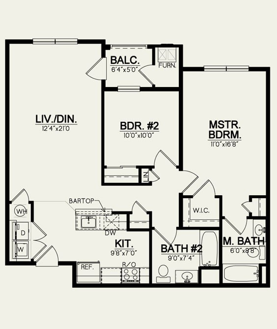 2 Bedroom- 2 Bath