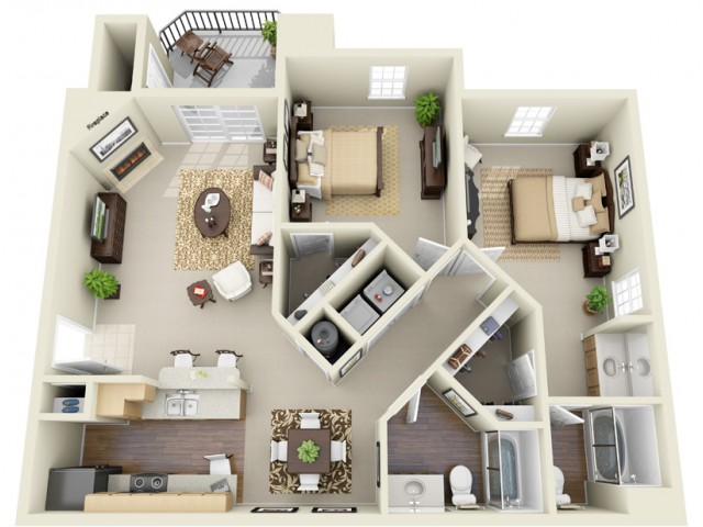 Two Bedroom Two Bathroom Floor Plan The Sanford - Classic