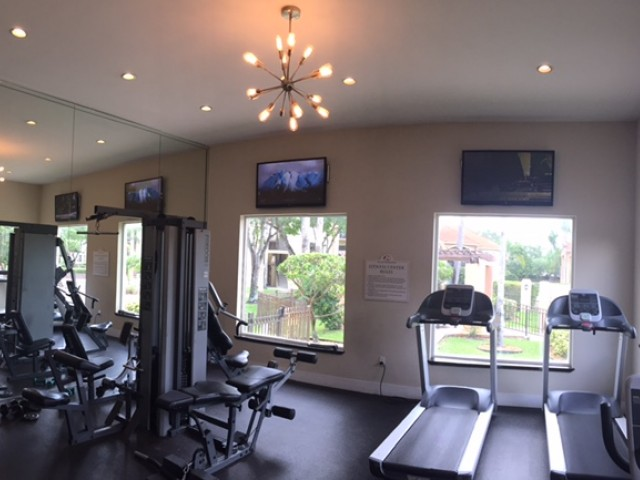 Fitness center with mirrored wall, strength training equipment, and treadmills. Flat screen televisions above large windows with view of community areas