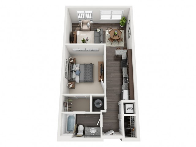 1 Bedroom Floor Plan | apartments in mt lebanon pa | The Ashby at South Hills Village Station 1