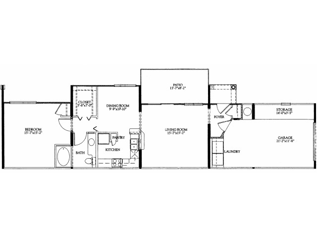 1BR/1BA with attached 1 car garage