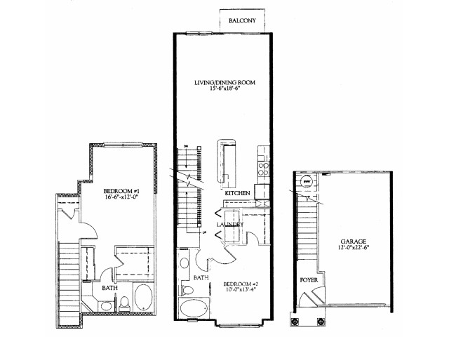 2BR/2BA with attached 1 car garage