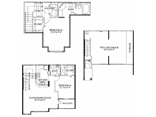 2BR/2BA with attached 2 car garage
