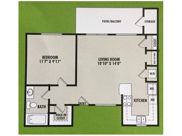 1 Bedroom Floor Plan | VERT at Six Forks