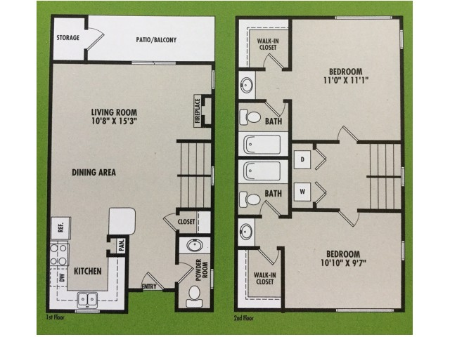 2 Bedroom Floor Plan | VERT at Six Forks