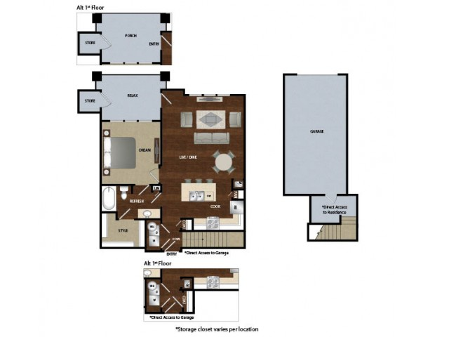 One bedroom one bath, kitchen, kitchen pantry, dinning room, living room, one closet and patio with attached garage