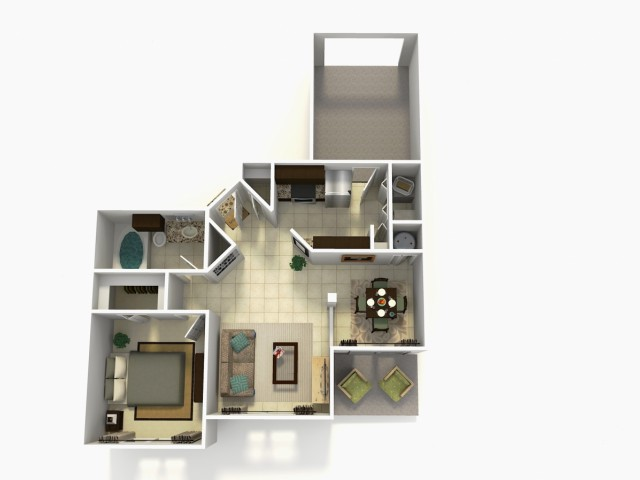 Grenada Premium one bedroom one bathroom 3D floor plan
