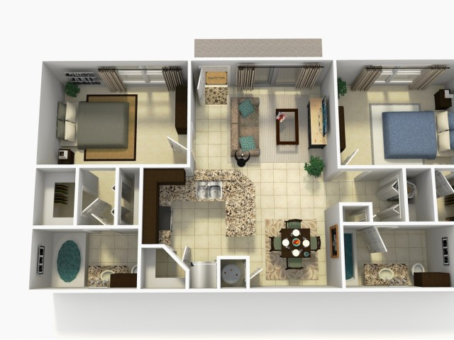 Espana Premium two bedroom two bathroom 3D floor plan