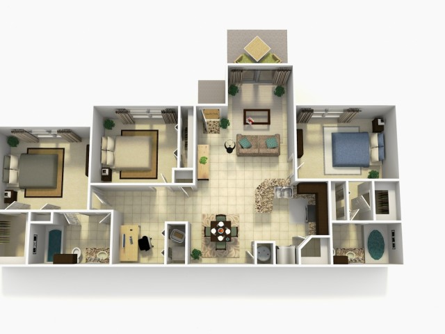 Almeria Premium three bedroom two bathroom with den 3D floor plan