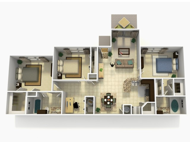 Almeria three bedroom two bathroom with den 3D floor plan