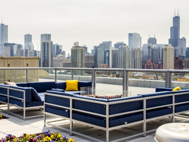 Image of Large Rooftop Deck with Stunning Skyline Views, Water Mister, & Pergola for Mondial River West
