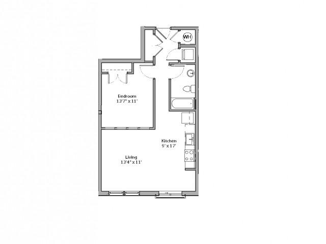 1 Bedroom Floor Plan | apartments in mt lebanon pa | The Ashby at South Hills Village Station 5
