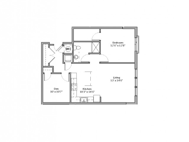 1 Bedroom Floor Plan | apartments in mt lebanon pa | The Ashby at South Hills Village Station 6