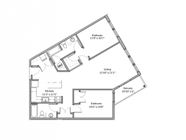 2 Bedroom Floor Plan | apartments for rent bethel park pa | The Ashby at South Hills Village Station 5