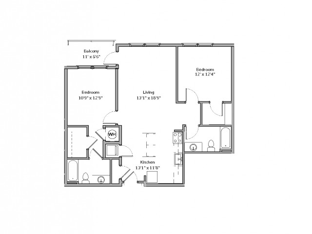 2 Bedroom Floor Plan | apartments for rent bethel park pa | The Ashby at South Hills Village Station 6
