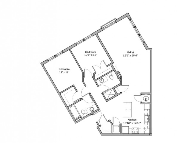 2 Bedroom Floor Plan | apartments for rent bethel park pa | The Ashby at South Hills Village Station 7