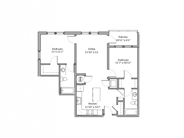 2 Bedroom Floor Plan | apartments for rent bethel park pa | The Ashby at South Hills Village Station 9