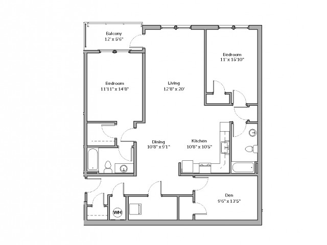 2 Bdrm Floor Plan | apartments for rent castle shannon pa | The Ashby at South Hills Village Station 2