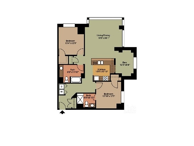 Two Bedroom 2 Bathroom with Dining area
