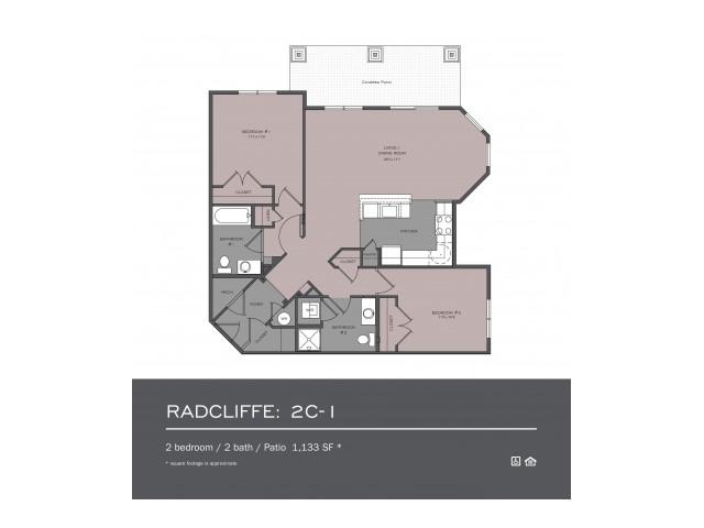 2 Bedroom Floor Plan | frederick md rentals | Prospect Hall