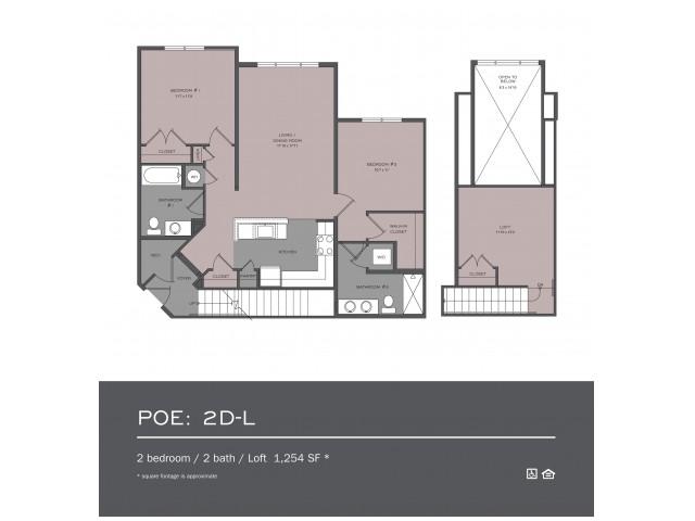 2 Bdrm Floor Plan | rentals In frederick md | Prospect Hall