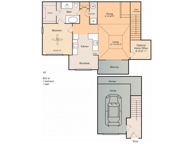 1 bedroom 1 bath apartments with dining area, private patio, front porch, storage area, garage and 786 square feet. The A3 floor plan does not have an attached garage as shows in the image.