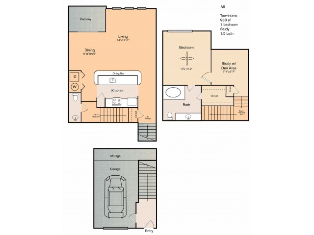 1 bedroom 1 bath townhome apartment with kitchen island, dining area, a study, private patio, storage space, garage and 938 square feet