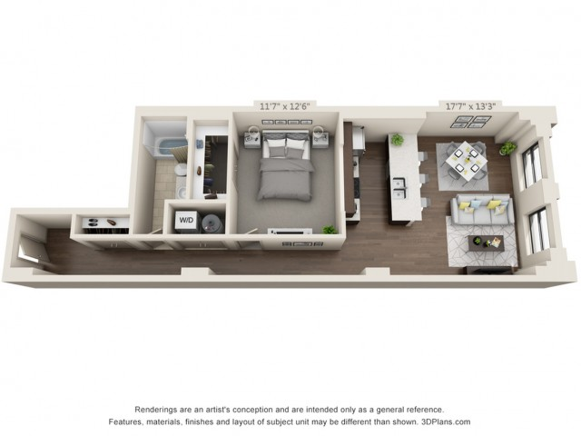 A16-ONE BEDROOM/ ONE BATHROOM- 872 Sq. Ft.