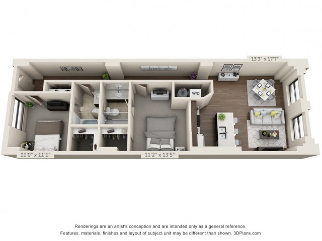 B04-TWO BEDROOMS/ TWO BATHROOMS- 1006 Sq. Ft.