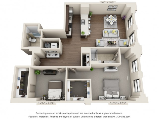 B15-TWO BEDROOMS/ TWO BATHROOMS- 1401 Sq. Ft.
