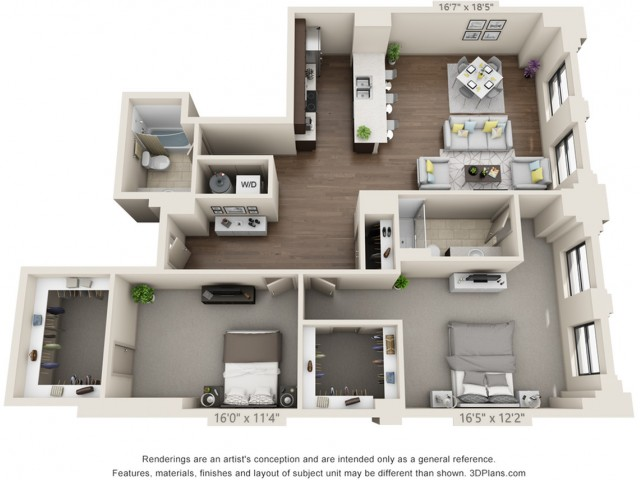 B16-TWO BEDROOMS/ TWO BATHROOMS- 1469 Sq. Ft.