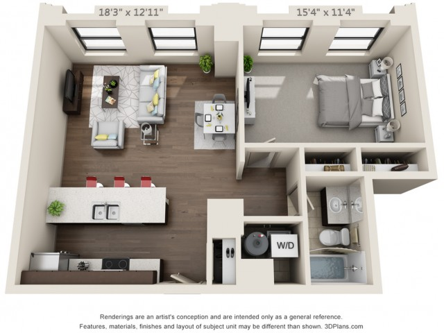 A07-ONE BEDROOM/ ONE BATHROOM- 769 Sq. Ft.